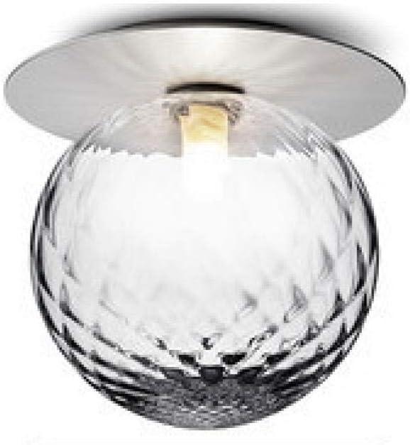 Iluminación de techo Fuente De Luz Moderna E27 Plata Cuerpo De Hierro Forjado Pantalla De Cristal Transparente Pasillo Balcón Luz 14 × 17 × 16CM, Natural_White_Light_