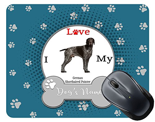 BleuReign(TM) Personalized Custom Name I Love My Dog German Shorthaired Pointer Mouse Pad