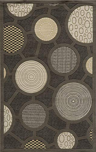 (Momeni Rugs ELEMTEL-31CHR2030 Elements Collection, 100% New Zealand Wool Hand Carved Contemporary Area Rug, 2' x 3', Charcoal)