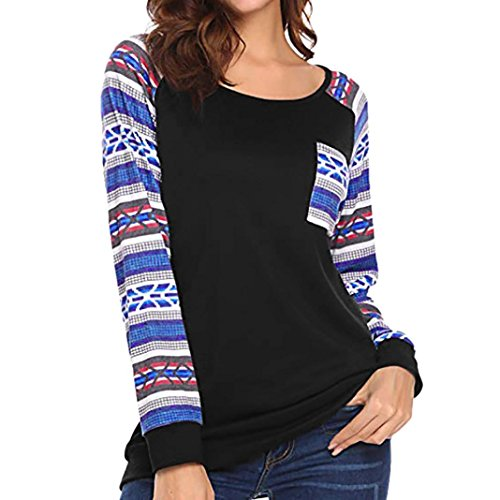 iTLOTL Ladies 2018 Casual Autumn Patchwork Striped Tops T-Shirt(Black ,US-10/CN-M)