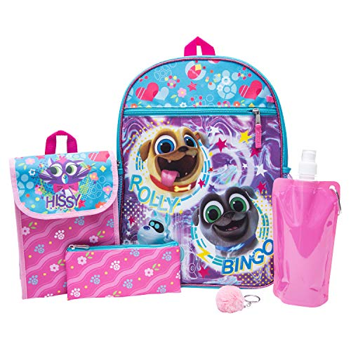 - PuppyDog Pals Backpack Combo Set - Disney Puppy Dog Pals Girls' 6 Piece Backpack Set - Bingo and Rolly Backpack & Lunch Kit (Pink)