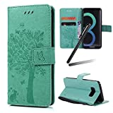 Galaxy S8 Plus Case,Samsung Galaxy S8 Plus Wallet Case,Galaxy S8 Plus 2017 Stand PU Leather Case,SKYMARS Cat Tree Embossed PU Leather Flip Kickstand Cards Slot Cash Pockets Wallet Magnetic Closure Book Style Case for Samsung Galaxy S8 Plus 2017 Tree Green