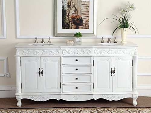 "72"" Antique white Classic Beckham Bathroom sink vanity Model CF-3882W-AW-72 - Aw Antique Bathroom Vanity"