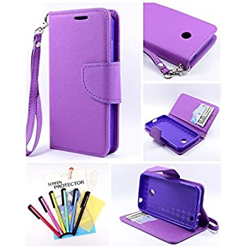 Thousand Eight(TM) For Nokia lumia 635/630 Candy Dual-Use Flip PU Leather Wallet Pouch Case + [Free LCD Screen Protector Shield(Ultra Clear)+Touch Screen Stylus] (Wallet Pouch purple)