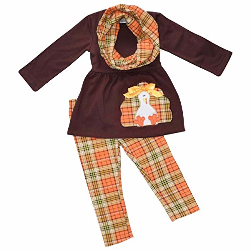 Unique Baby Girls 3 Piece Turkey Fall Colors Thanksgiving Legging Set (Holiday Outfits For Toddler Girls)