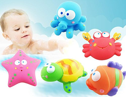 HUAJI A Set of 4 Pcs Funny Cartoon Sea Animals Toy Water Floating Bath Toys for Baby