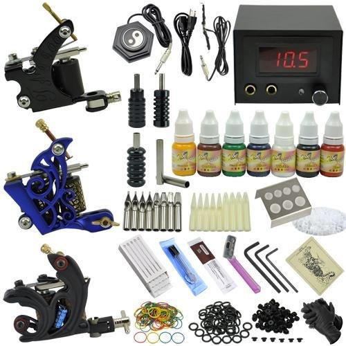 tattoo art equipment 3 tattoo motor guns professional tattoo kit with tattoo power supply needles set ink set mc kit a3004