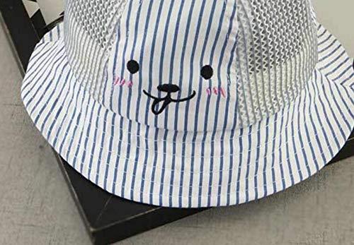Huasen Outdoor Baby Breathable Mesh Cap Toddler Stripe Ear Sun Protection Hat-Blue