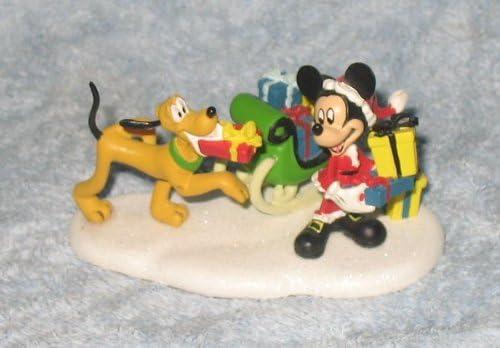 Disney Department 56 Village Mickey Pluto Loading Sleigh 811269