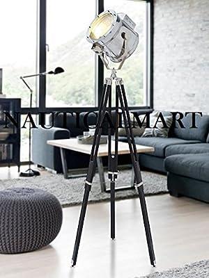 Chrome Finish Spotlight Standing Tripod Floor Lamp