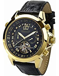 Astonia Black Diamond Yellow Gold Mens Watch