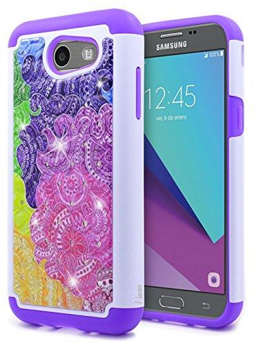 Galaxy J3 Luna Pro Case, J3 Prime /J3 Eclipse /J3 Emerge/Amp Prime 2 /Express Prime 2 /Sol 2 /J3 Mission, NageBee Glitter Rhinestone Sparkle Bling Diamond Girls Cute Case for Samsung J3 2017 -Rainbow