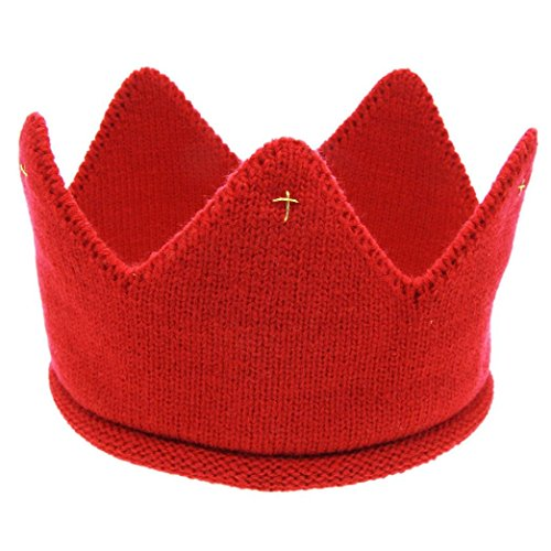 [Anboo New Cute Baby Boys Girls Crown Knit Headband Hat (Red)] (Red Felt Cowboy Hat With Band)