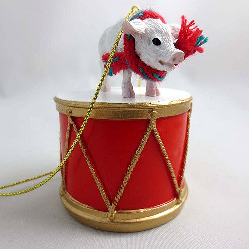 Little Drummer Pink Pig Christmas Ornament - Hand Painted - Delightful by Animal Den