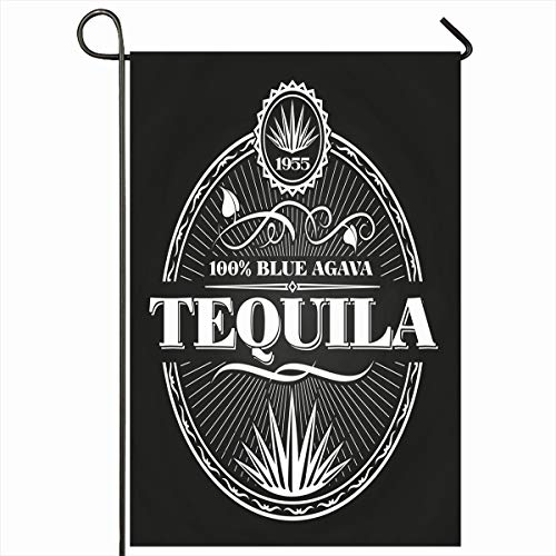 "Ahawoso Outdoor Garden Flags 12""x18"" Inch Mexico Label Vintage Tequila On Chalkboard Sketch Liquor Mexican Bottle Bourbon Design Restaurant Vertical Double Sided Home Decorative House Yard Sign"