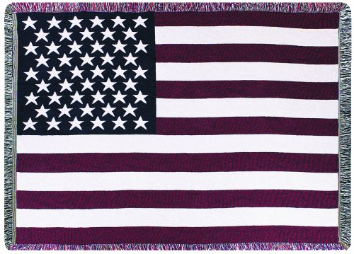 Manual Patriotic Collection 46 X 60-Inch Tapestry Throw with Fringe, USA Flag