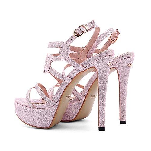 Prom Pumput Rongzhi Vaaleanpunainen Naisten Korkokengät Platform Kärki Kengät Avoin Sandaalit Osapuolen Nilkkalenkki Kallistuneen qqBwR