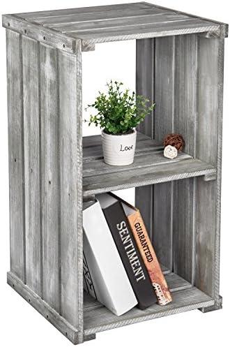 2 Tier Dark Gray Wood Crate Design Storage Shelf Organizer Cubby