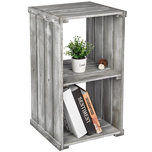 MyGift 2 Tier Dark Gray Wood Crate Design Storage Shelf Organizer Cubby, Bookcase Shelving Unit
