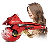 LENMO Automatic Hair Steam Curler Professional Ceramic Curling Iron Wand Salon Auto Rotating Styling Steamer Spray Curl Spiral Machine Tool with LED Digital Display (Red)