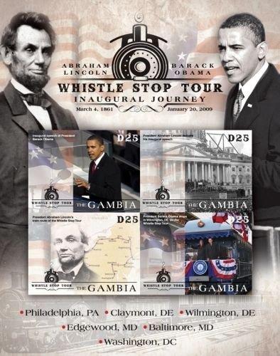 Imperial Mint Presidents Abraham Lincoln, Barack Obama Stamp Sheet - Gambia Sheetlet of 4 Scott #3193