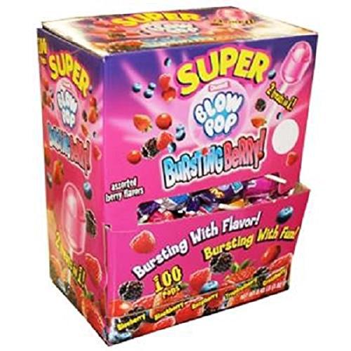 Product Of Charms Super Blow Pop, Bursting Berry, Count 100 - Sugar Candy / Grab Varieties & Flavors by Product Of Charms Super Blow Pop (Image #1)