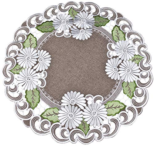 Small Tablecloth Centerpiece Large Doily Embroidered with a Silver White Daisy on Brown Burlap Linen Fabric, Size 24 Inch Round ()