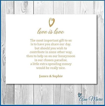 50 Personalisierbar Hochzeit Geld Gedichthoneymoon Wish