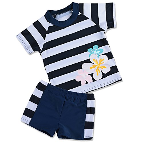 TFJH E Kids Swimsuits for Girl 2Pieces Sun Protection UPF 50+ Swimming Custumes,Navy 104/110 ()