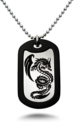 Amazon com: Kriskate Co Dragon Stainless Steel Dog Tag Necklace