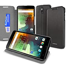 CaseBase® Ultra-Slim Premium Folio Case Cover with Flip-Stand for New OnePlus Two (Black)