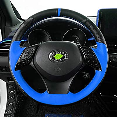 Car Steering Covers Black and Blue Leather Cover for Toyota C-HR 2020 2020: Automotive
