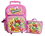 "Shopkins 16"" GIRLS KIDS LARGE ROLLING BACKPACK Plus LUNCH BAG"