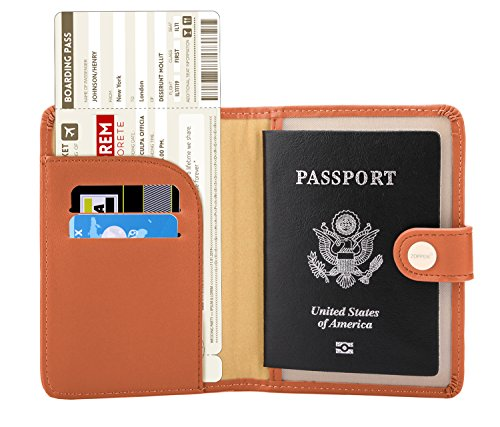 Zoppen Rfid Blocking Travel Passport Holder Cover Slim Id Card Case (#27 Bright Orange) (Case Orange Accessory)