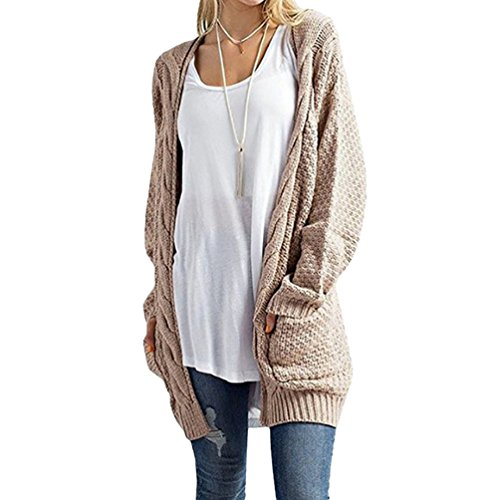 YOUJIA Veste Kaki Poche Pull Macnhes Sweater Femmes avec Cardigan Cable Pullover en Tricot Jacket Gilet a Longues rZr7a