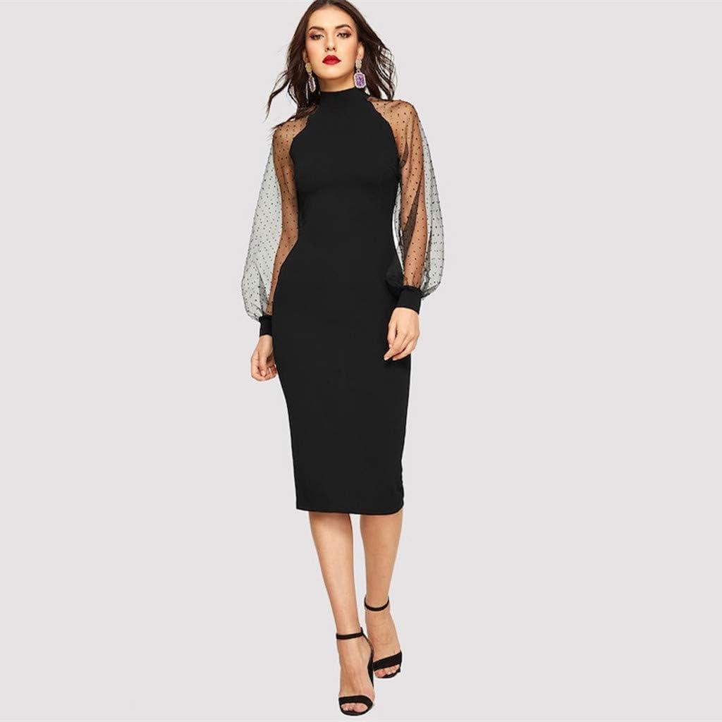 BaZhaHei Damen Mode Elegant / Solide Mesh Puff/ärmel Patchwork Arbeit Elegantes Bleistiftkleid Etuikleid Business Kleider Knielang Kleider Bleistiftkleid