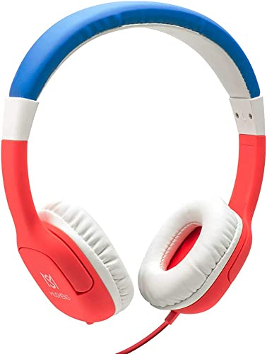 JIEDING Kids Headphones,3.5mm Jack 85dB Volume Limited Stereo Wired Children s Headphones Over Ear Headsets Red