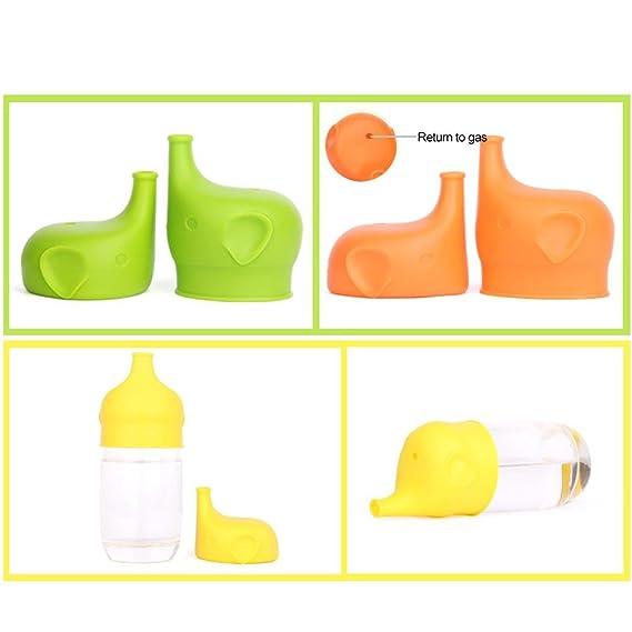 Color al Azar sin derrames 3 Unidades Ni/ños Silicona en Forma de Elefante AOLVO Tapas para Tazas de Sif/ón Haz de Cualquier Taza una Taza de Sif/ón para Beb/és sin BPA y Aprobado por la Fda