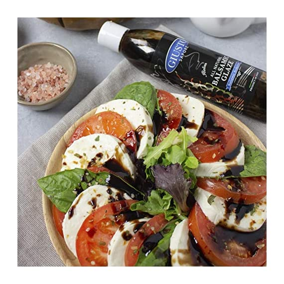 Giusto Sapore Premium Basil Glaze 70% With Blasamic Reduction - Imported from Italy and Family Owned - 8.5oz 3 FAMILY MADE: Premium gourmet caprese balsamic glaze brand that is imported and made in Italy. INGREDIENTS: This all natural glaze is a reduction made from balsamic vinegar from Modena P.G.I., ensuring an authentic product FLAVOR: Balsamic reductions create a rich, flavorful, syrupy-like glaze.