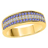 DreamJewels 6MM 14K Yellow Gold FN Alloy 0.50CT Tanzanite & White Cz Diamond Ring 3 Row Pave Men's Hip Hop Anniversary Wedding Band Ring Size All Available