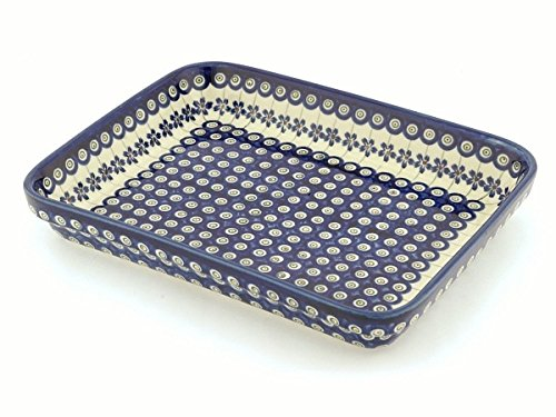 (Polmedia Polish Pottery 12-inch Stoneware Rectangular Baker H0542A Hand Painted from Zaklady Ceramiczne in Boleslawiec Poland. Shape S157A(GU371) Pattern)