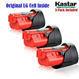 Kastar M12 Rechargeable Battery (3-Pack), Replacement Milwaukee M12 Cordless Tool Battery, 12 Volt 1.5Ah 16Wh Red Lithium Ion Battery For Milwaukee M12 IR, M12 JS, C12 B,C12 BX, C12 D, C12 DD, C12 HZ, C12 IC, C12 ID, C12 IW, C12 PC, C12 PD, C12 PPC, C12 W