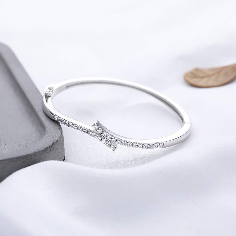 Zircon 2mm:28 Grain. Material: S925 Silver Baoyilong Fashionable Style Accessories S925 Sterling Silver Bracelet Simple Zircon Bracelet Artificial Zircon Craft: Inlay Inner Diameter About 58mm