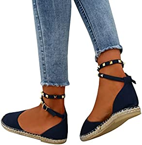 Shele Womens Tie Up Flat Espadrilles Sandals Suede Strap Ankle Wrap Classic Lace Up Shoes