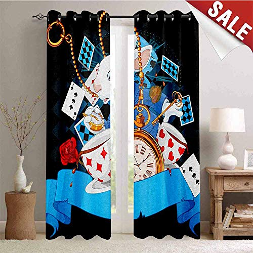 in Wonderland Room Darkening Wide Curtains Rabbit Motion Cups Hearts and Flower Character Alice Cartoon Style Decor Curtains by W72 x L96 Inch Multicolor