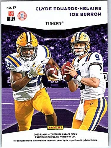 2020 Panini Contenders Draft NCAA Collegiate Connections Football #17 Clyde Edwards-Helaire//Joe Burrow LSU Tigers Official NCAA Trading Card From Panini America