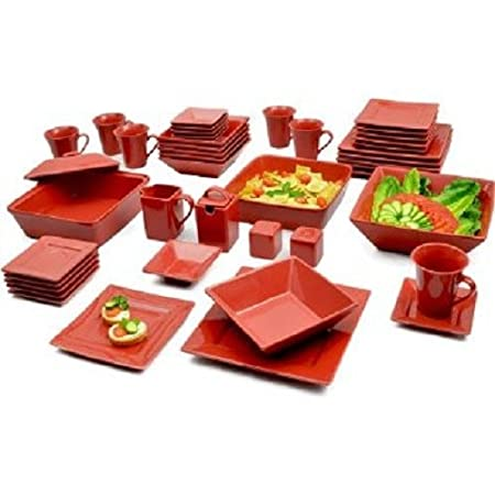 Amazon.com | GMT Red 45 Piece Square Banquet Porcelain Dinnerware Set,  Service For 6, Red: Plates