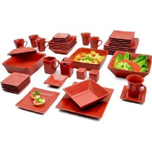 46 Piece Dinner (GMT Red 45-Piece Square Banquet Porcelain Dinnerware Set, Service for 6,)