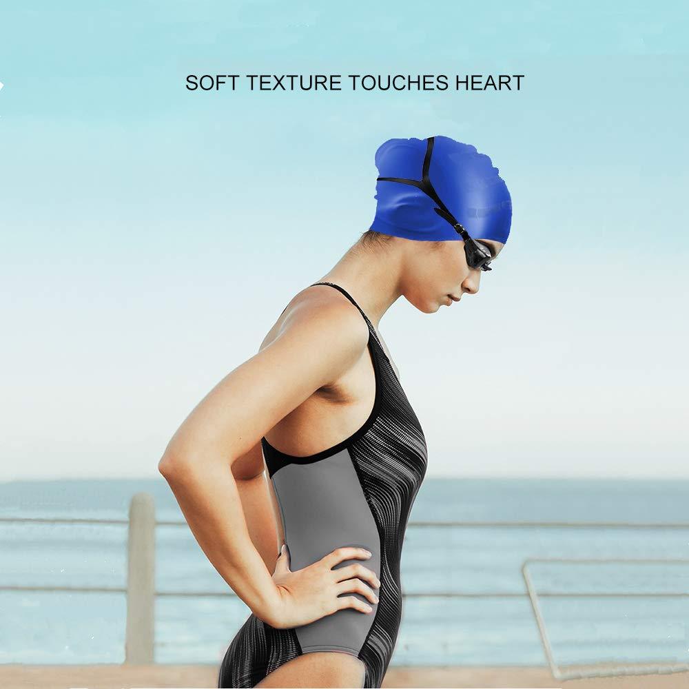 ,Waterproof Silcone Swim Cap Cover Ears for Women Men Kids with 2 Pack Nose Clip/& Ear Plugs 2 Pack Long Hair Swimming Cap