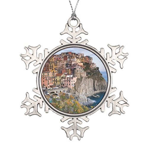 Follies Christmas Cinque Terre, Italy Snowflake Pewter Christmas Ornament